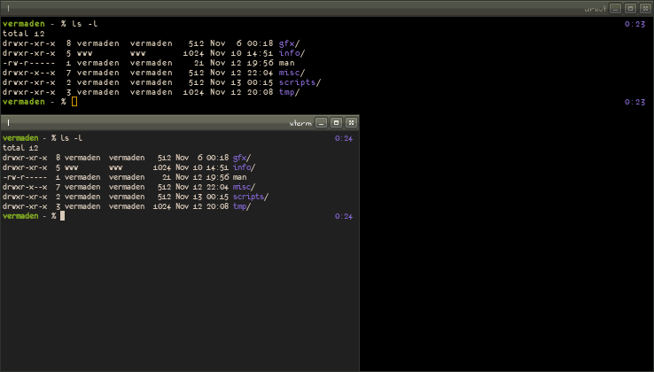 Gentoo Forums :: View topic - urxvt/xterm - diffrence in